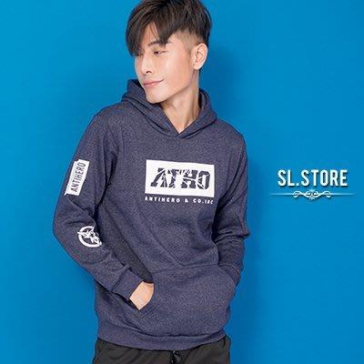 SL Store【YH66033】ATHO閃電星星潮流印花刷毛帽T.黑/藍/紅/M/L/XL