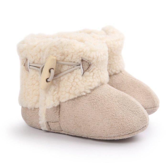 森林寶貝屋~米色時尚雪鞋~學步鞋~保暖鞋~寶寶鞋~嬰兒鞋~學走鞋~魔術貼+扣子~保暖舒適~彌月贈禮~特價135元