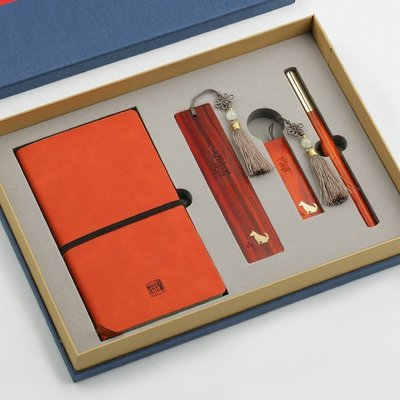 紅木簽字筆U盤書簽記事本套裝高檔商務辦公禮品定制刻字F1459