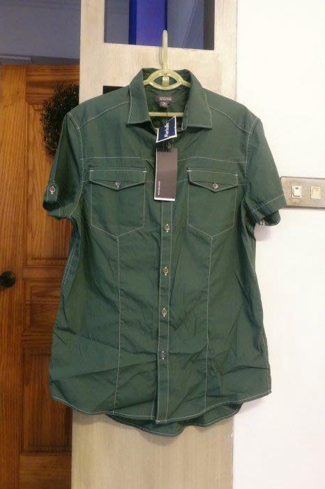[C.M.平價精品館]S現貨最後一件出清特價/原價1785元美國精品帥氣有型綠色短袖襯衫