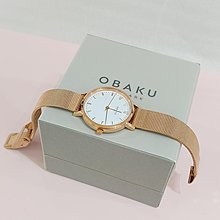 OBAKU丹麥時尚名牌/簡約風米蘭鋼帶手錶/純白面盤/數字刻度/玫瑰金/特價