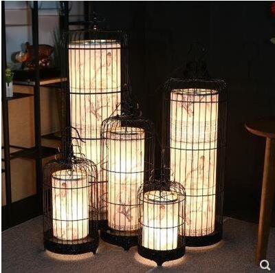 落地燈 新中式鐵藝鳥籠燈創意落地燈咖啡...