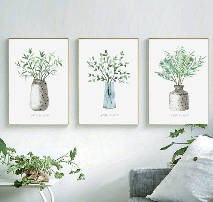 三幅一組油畫布 小清新綠色盆栽植物 畫芯/畫布/30X40☺暖暖屋☺傢居藝術館