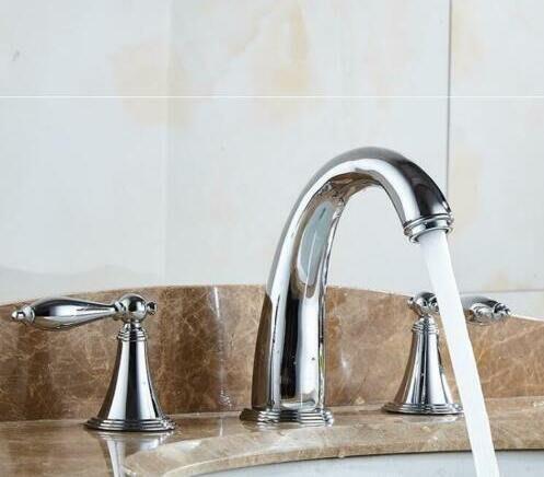 【安和衛浴】純銅 鍍鉻 亮銀色  面盆 分體3孔  水龍頭 (免運費)