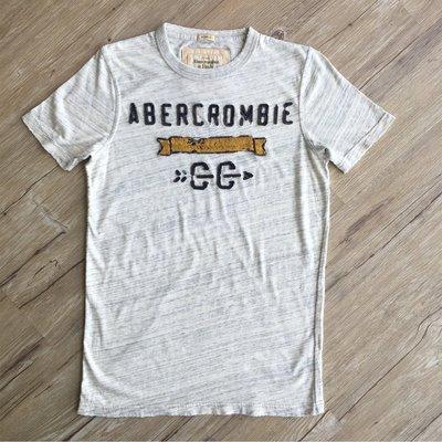 A&F(Abercrombie&Fitch) 經典款 男生復古水洗 貼布電繡圓領短t-灰色S號 $1290~12美式專賣
