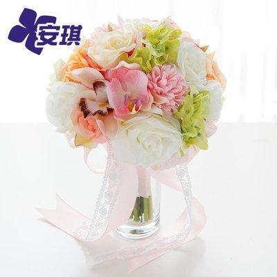 多色絹花混搭新娘手捧花