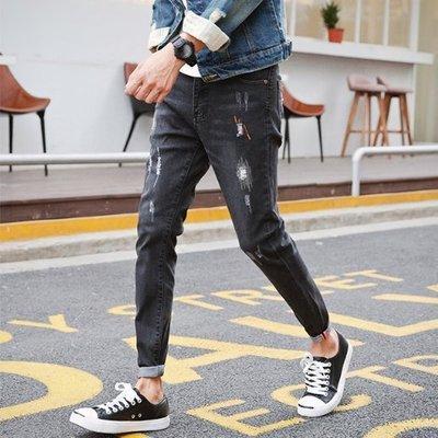 Chita Man + 韓版 貓抓刺繡 刷破 牛仔褲 兩色 2入1600
