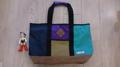 Columbia拼接麂皮購物袋.媽媽包.野餐包.