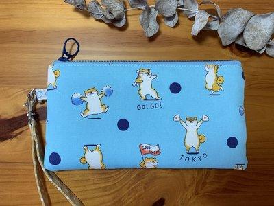 【檒手作】Wind Handmade  柴犬啦啦隊 橫式手機袋 / 手腕包 / 收納包