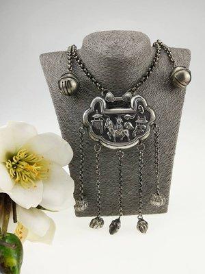 「糖巷老銀飾」小精品,麒麟送子、玉堂富貴鈴鐺流蘇大型鎖