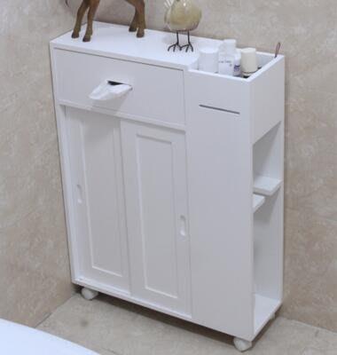 【優上】實木質馬桶邊櫃衛生間側櫃落地浴室防水抽紙巾架廁所「B款馬桶邊櫃」