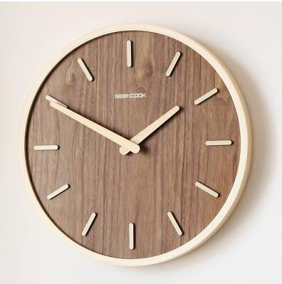 【優上】日式靜音掛鐘客廳臥室現代裝飾掛錶木質石英鐘「原木色」
