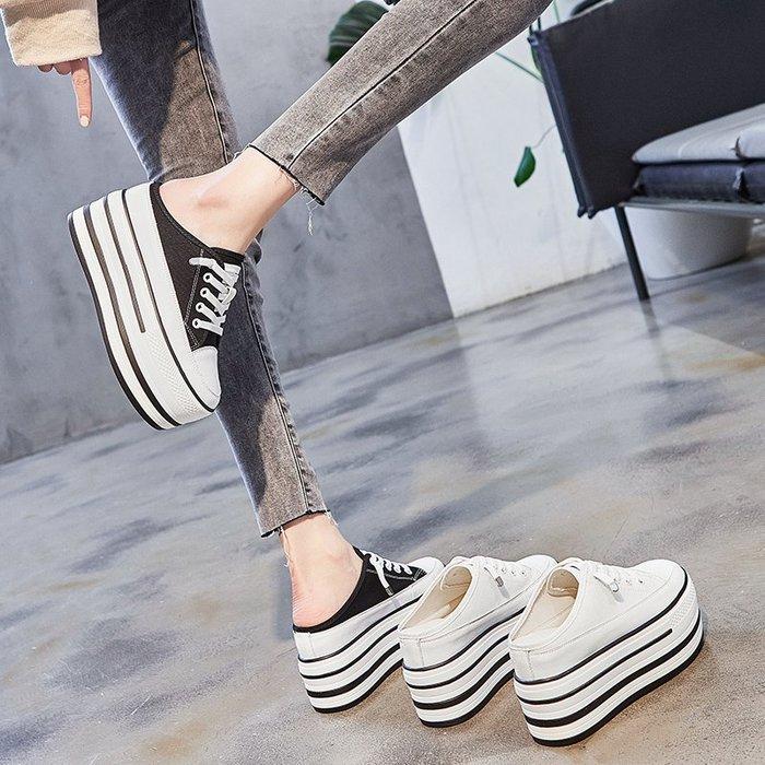 『P.M♥SHOP』2020新款厚底包头半拖鞋女松糕帆布凉拖鞋无后跟外穿小白拖鞋
