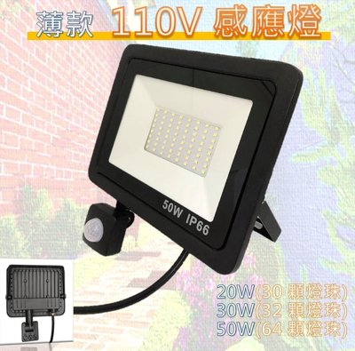 30W超薄感應燈 人體感應投光燈 紅外線感應 庭院燈 花園燈 太陽能燈 戶外照明 台南市
