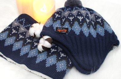 韓國winghouse 兒童冬季配件 圓帽條紋/北歐菱格  7毛帽圍巾組    WH0507  WH0508