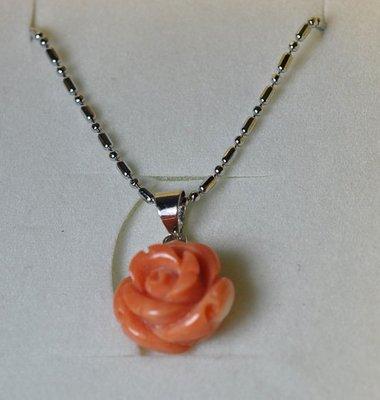 宋家苦茶油ponhoshanho.2澎湖專賣店的特有紅珊瑚一顆紅色頸珠項鍊粉紅玫瑰花.13mm*13mm*9mm