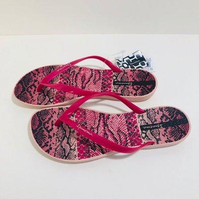 《現貨》Ipanema  女生夾腳拖鞋 巴西尺寸33/34,35,36,37(舒適鞋底 蠎蛇紋 人字夾腳平底拖鞋-桃紅色)
