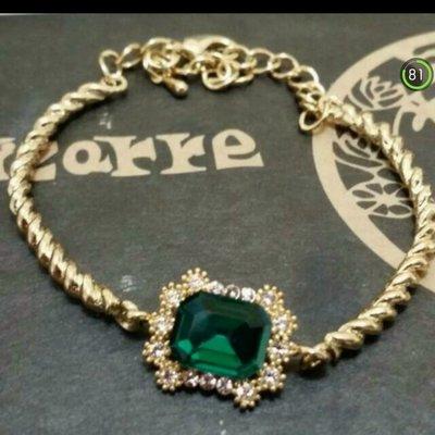綠寶石金色手鍊 復古手鍊