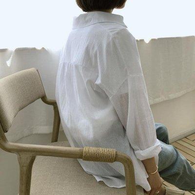 防曬衣 夏季沙灘女透氣中長款開衫外套寬松薄款空調服棉麻襯衫   全館免運