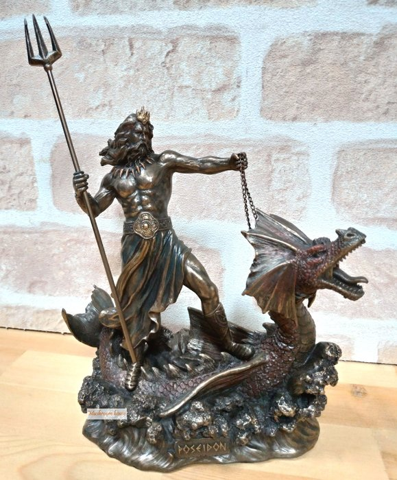 點點蘑菇屋 義大利進口仿銅雕塑海神波賽頓與海龍擺飾 三叉戟 Poseidon 希臘神話雕像 現貨 免運費