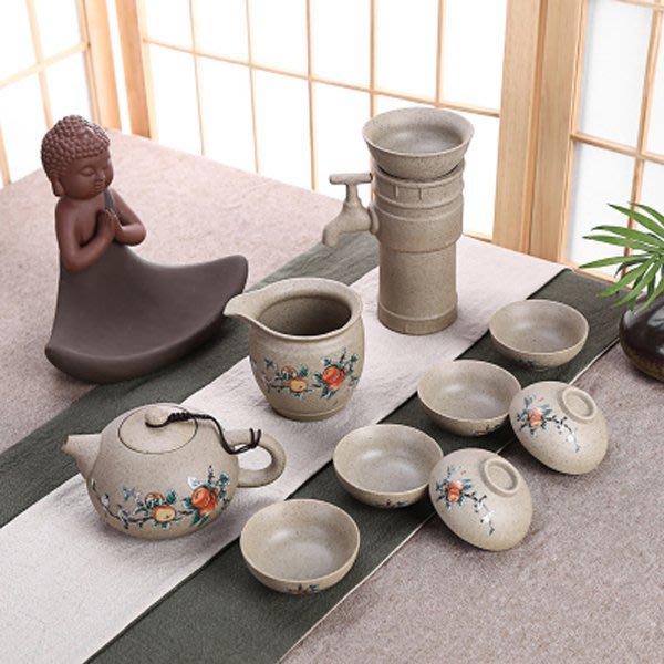 5Cgo【茗道】含稅會員有優惠 520329713458 創意粗陶半自動茶漏陶瓷功夫養生茶具茶壺整套喝茶杯公道 11件套