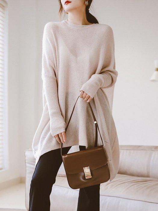 現貨-日本製-寬鬆慵懶溫油色羊毛針織毛衣^^