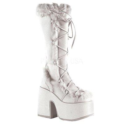 Shoes InStyle《五吋》美國品牌 DEMONIA 原廠正品龐克歌德蘿莉麂皮絨毛厚底粗跟中長靴 有大尺碼『白色』