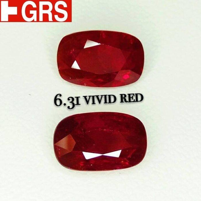 已賣南美女 對石天然紅寶石 共約 6.31克拉 送GRS證 頂級濃郁vivid紅色 無燒透美 火光閃 買一送一的價格