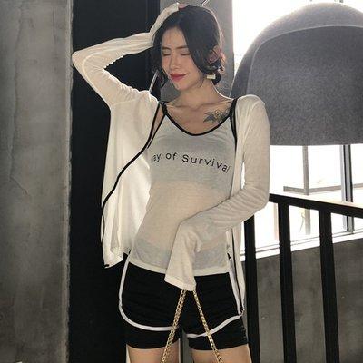 夏裝新款撞色字母印花小吊帶背心+薄款防曬衣外套空調衫兩件套女