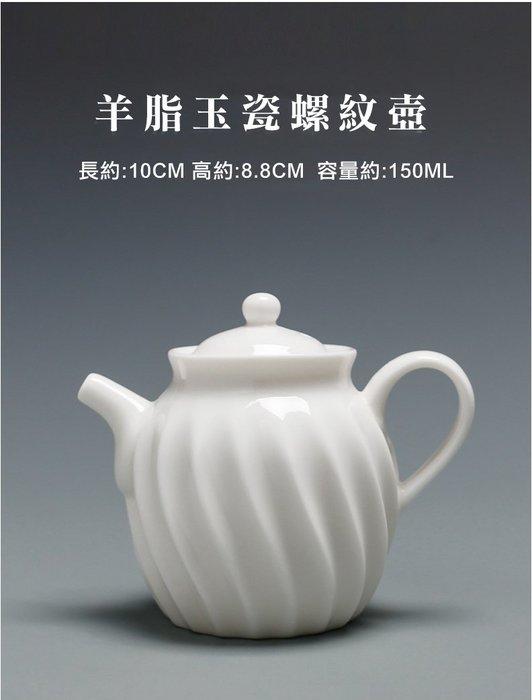 【茶嶺古道】羊脂玉瓷 螺紋壺/功夫茶具 純白 德化白 泡茶壺 標準壺 小茶壺
