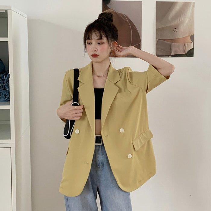 小香風 短袖T恤 時尚穿搭 韓版 寬松中長款薄款帥氣穿搭七分袖西裝外套女裝ins