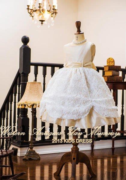 妍媽咪兒童禮服出租~日本進口淺駝婚紗珍珠立體薔薇花瓣禮服~畢業演奏婚禮