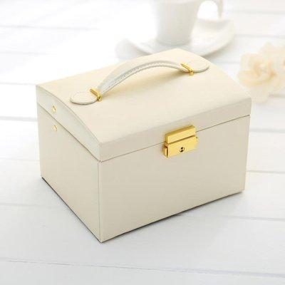 歐式公主簡約木質首飾盒韓國清新手飾品帶鎖收納盒耳釘戒指盒子   全館免運