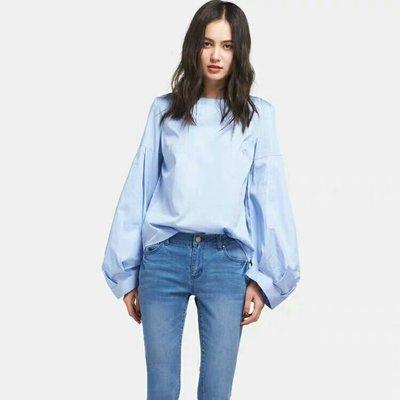 96%棉 寬袖燈籠袖湛藍襯衫 專櫃名牌特價中