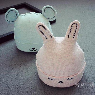 新生兒0-4個月帽子胎帽加厚加絨耳朵嬰兒帽秋冬寶寶套頭帽子棉質