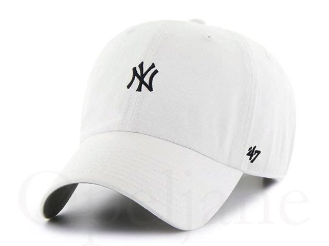 NEW YORK YANKEES 47 BRAND 小LOGO 美國職棒洋基隊可調式白色棒球帽鴨舌帽明星藝人孫芸芸最愛
