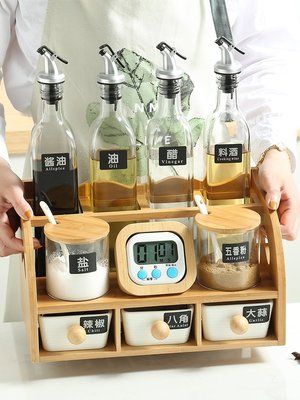 家居收納 廚房收納架 鬧鐘調新品料盒多功能置物架調料瓶調新味罐收納盒廚房用品調味套裝家用D02B2