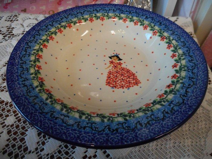 ~~凡爾賽生活精品~~全新波蘭進口彩繪紅公主造型圓形餐盤.咖哩飯盤.點心盤
