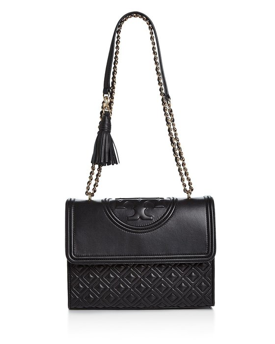 Coco小舖 Tory Burch Fleming Convertible Leather Shoulder Bag黑色