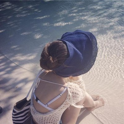 夏天韓版空頂草帽女潮大沿女士遮陽帽折疊防曬太陽帽夏季沙灘帽子