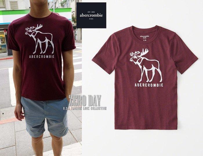 零時差美國時尚網a&f真品abercrombie&fitch boy logo graphic tee麋鹿短袖T-酒紅
