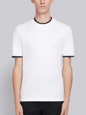THOM BROWNE TB MOCK NECK COTTON TEE