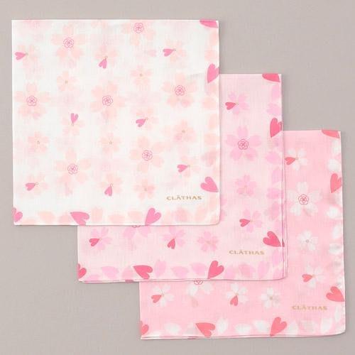 ✿花奈子✿日本製 CLATHAS 100%純棉手帕 櫻花 限定款 純棉 手帕 方巾 擦手巾 日本 小香 愛心 棉手帕