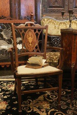 【家與收藏】特價稀有珍藏歐洲百年古董英國愛德華時期珍貴手工精緻Inlaid鑲嵌檀木扶手椅