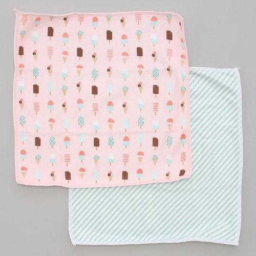 日本 微纖維 冰淇淋與斜條 2件組抹布-粉色系