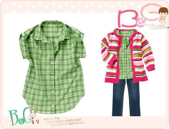 【B& G童裝】正品美國進口Crazy8 Button Tab Plaid Shirt綠色格子短袖襯衫M號6-8yrs