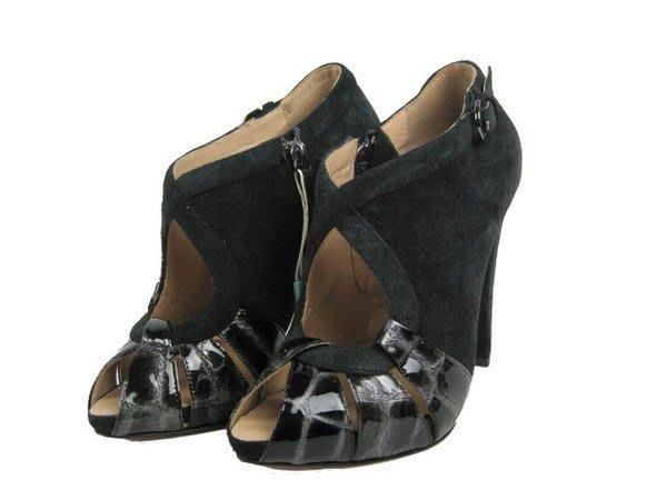 *旺角名店* 全新 Mario Bologna 黑色麂皮魚口高跟鞋 踝靴  vivier rossi  [08200404]