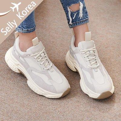 [雙12限定]正韓 老爹鞋 牛皮拼接 麂皮 綁帶 厚底運動休閒鞋-Selly-沙粒-(KR295)2色