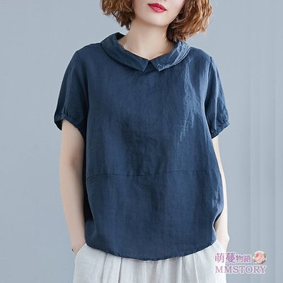 女上衣 很好穿的日系棉麻後扣扣翻領襯衫 娃娃衫【KX1394】短袖棉麻衫