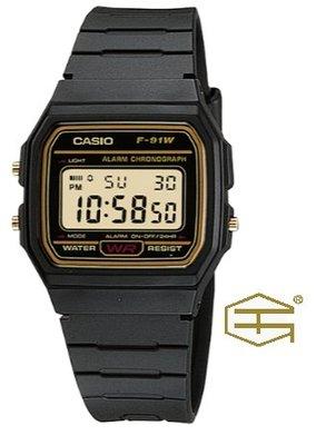【天龜 】CASIO  經典復古  簡約電子錶  F-91WG-9 台中市